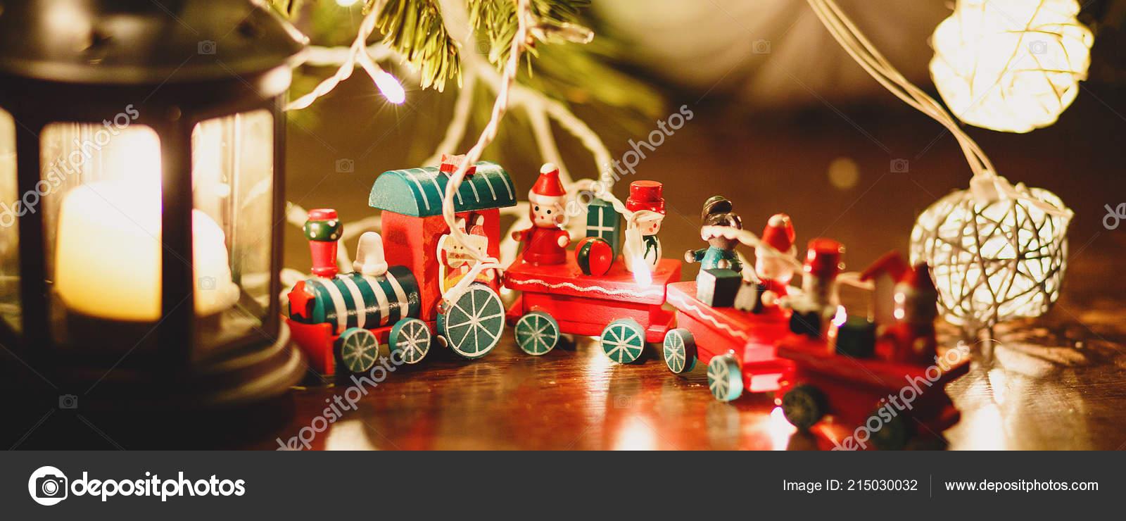 Red Green Train Stands Fir Tree Lights Next Black Candlestick Stock Photo C Chekyravaa 215030032
