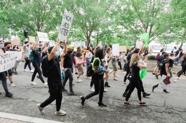 Hoboken, NJ / USA - June 5th, 2020: Black Lives Matter Peaceful Protest in Hoboken, NJ Hoboken, NJ / USA - June 5th, 2020: Black Lives Matter Peaceful Protest in Hoboken, NJ