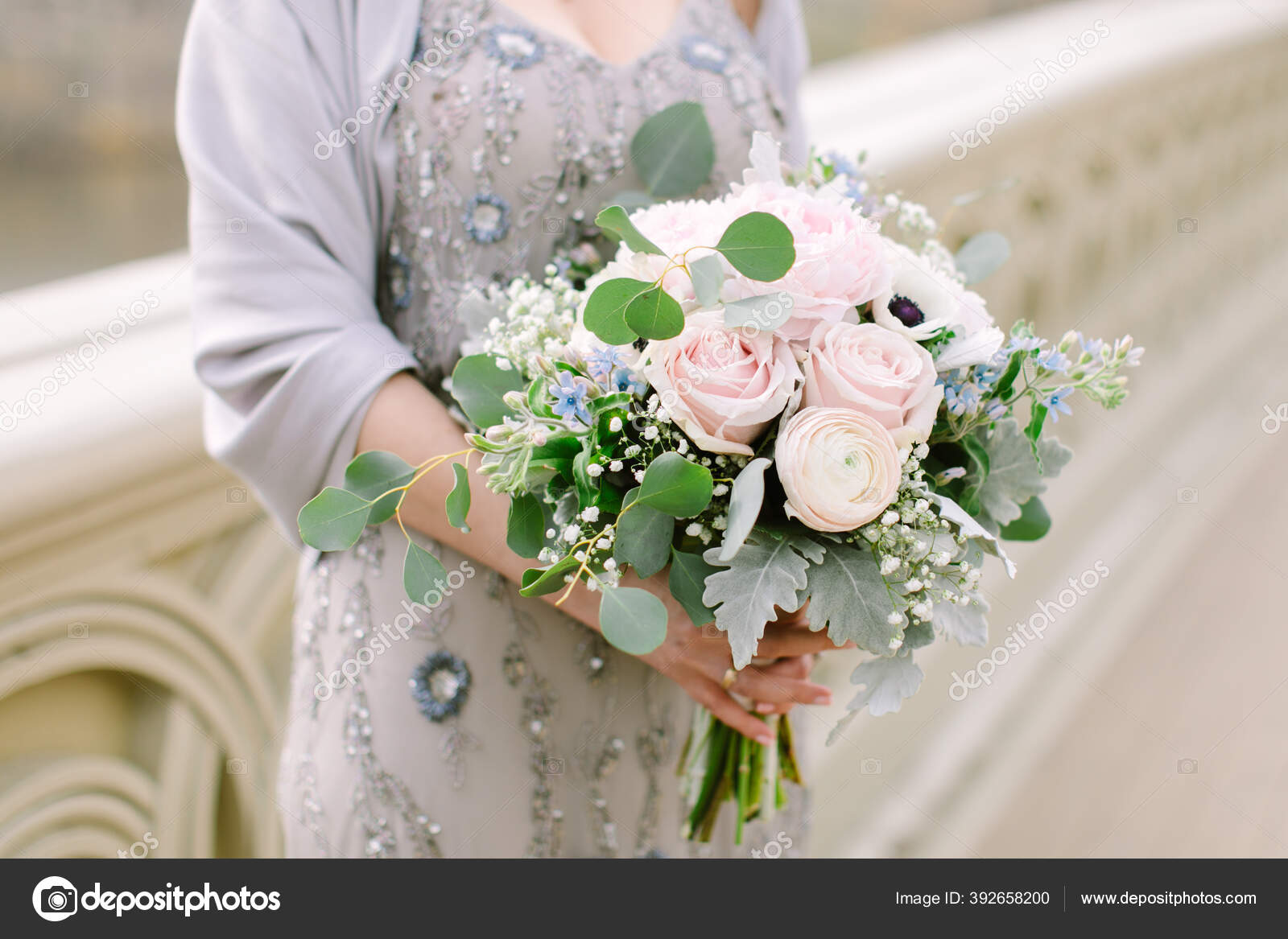 Romantic Organic Bridal Bouquet Made Light Colored Florals Baby Pink Stock Photo C Marthagraham 392658200
