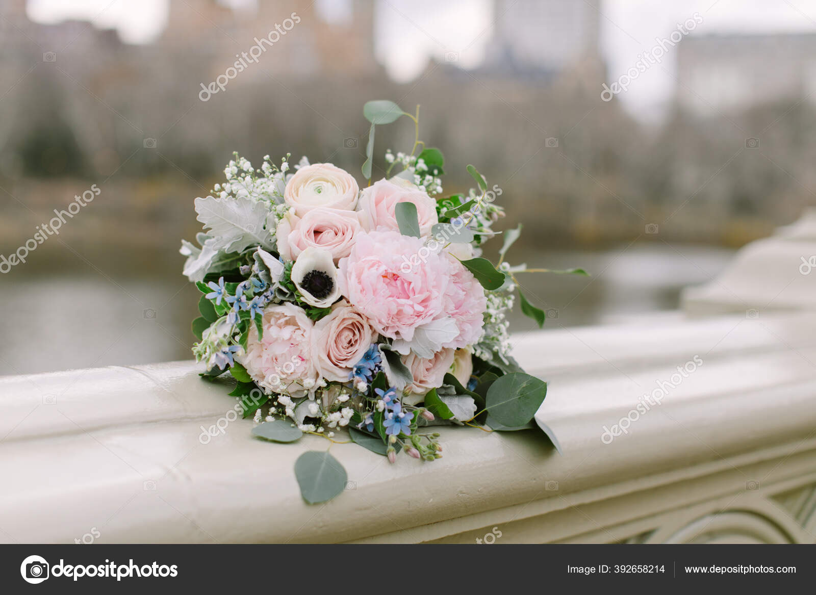 Romantic Organic Bridal Bouquet Made Light Colored Florals Baby Pink Stock Photo Image By C Marthagraham 392658214