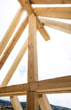 Wooden beams in new build house