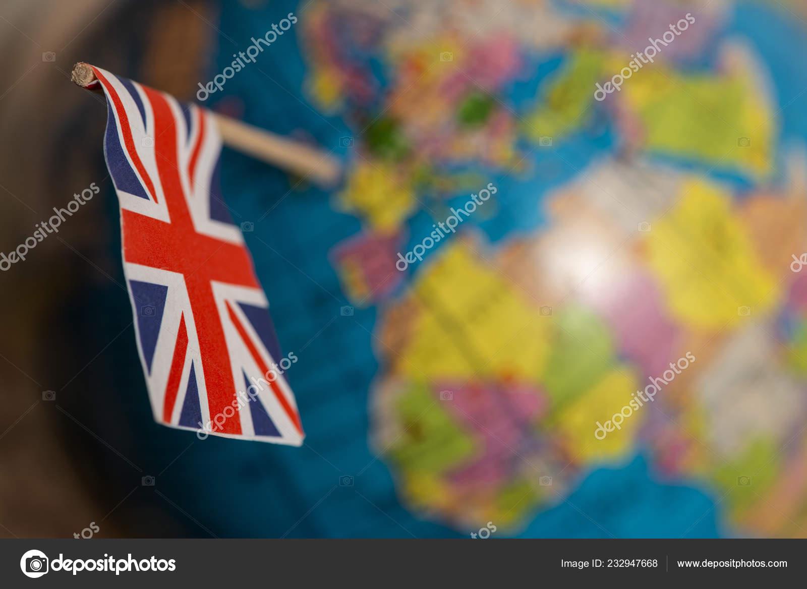 British Flag World Map Flag Pricked Globe Points United Kingdom