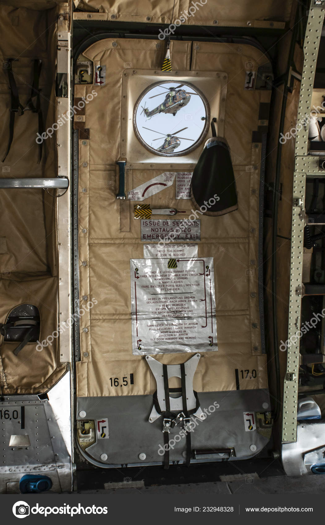 Interior Military Plane Opened Door Fly Military Equipment