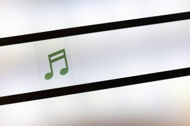 Music note symbol on illuminated background. Conception for sound and music.