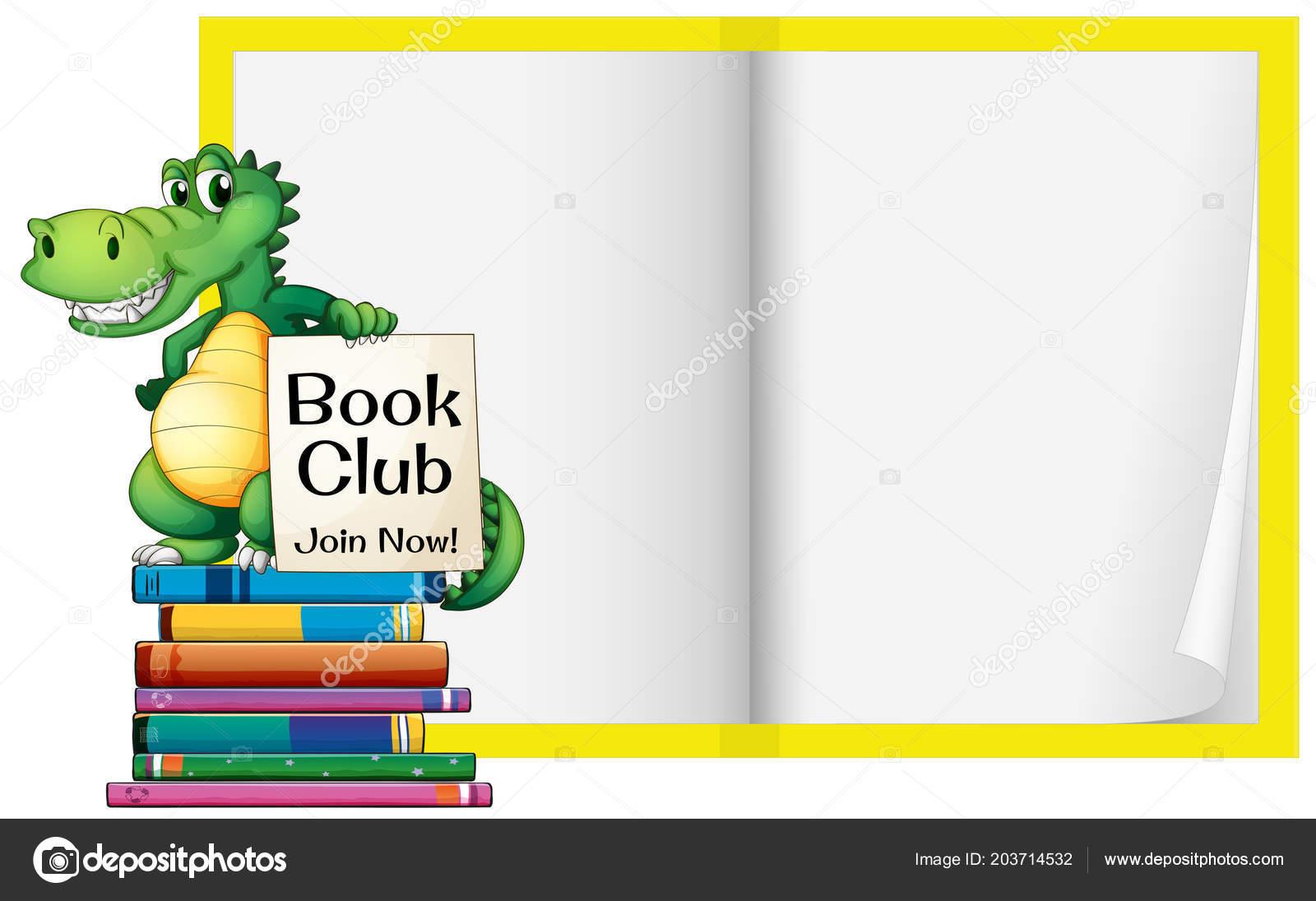 blank book crocodile template illustration stock vector