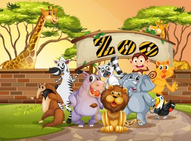 Happy animal in the zoo illustration