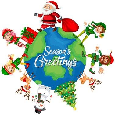 Christmas element on the globe illustration stock vector