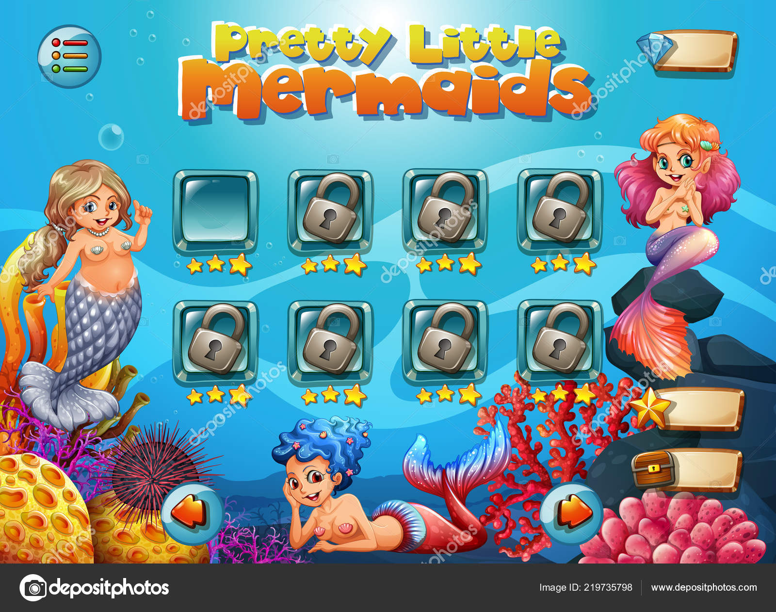 pretty little mermaid game template illustration stock vector