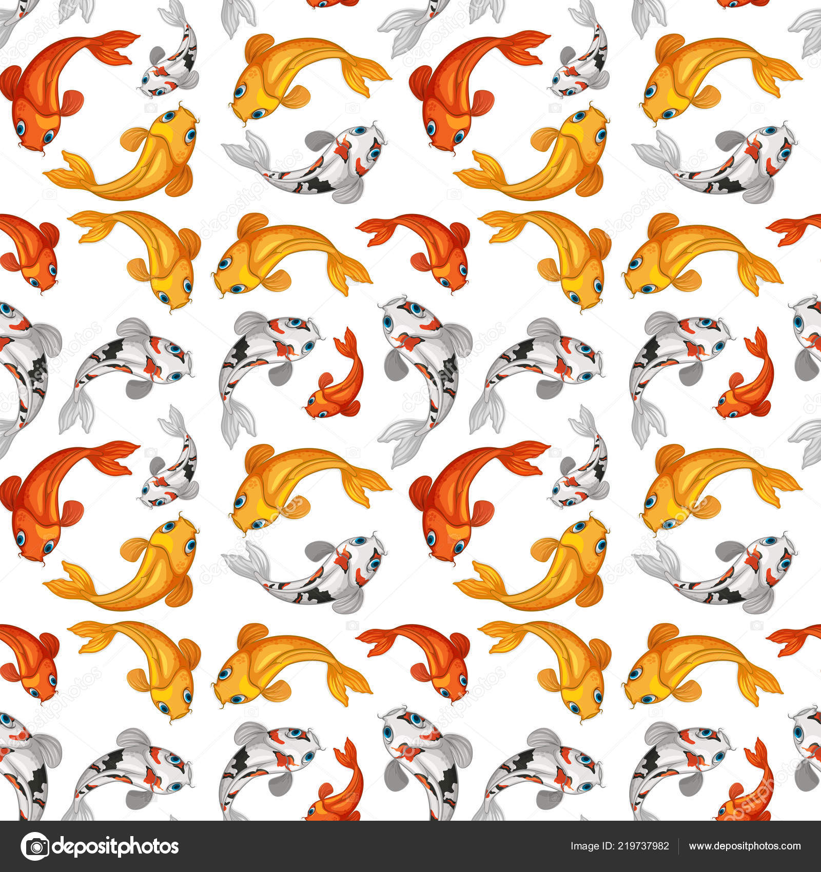 Koi Fish Seamless Card Template Illustration — Vector de stock ...