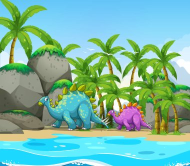 Dinosaur next to the beach illustration