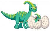 Fotografie Adult dinosaur and baby dinosaur hatching egg illustration