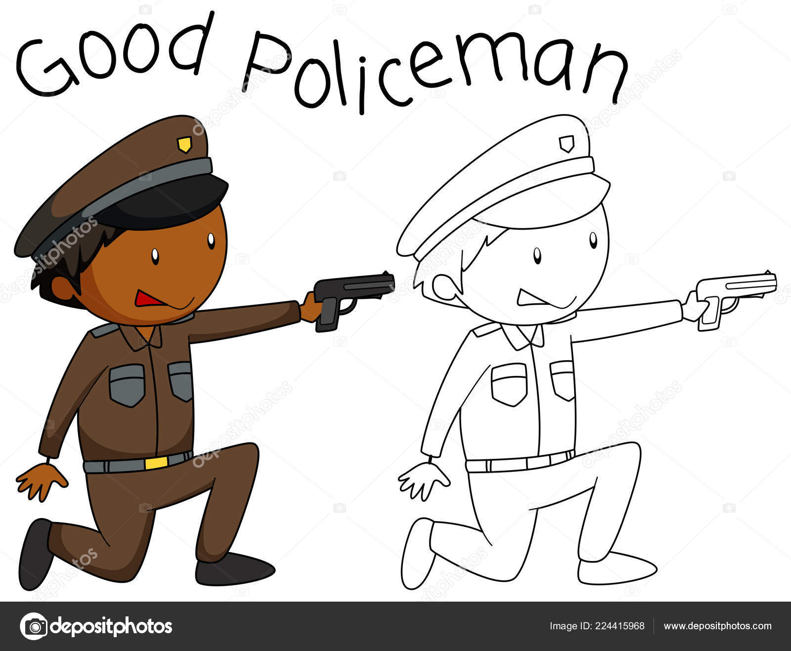 Doodle Good Policeman Character Illustration — Stock Vector