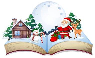 Open book Xmas theme illustration stock vector