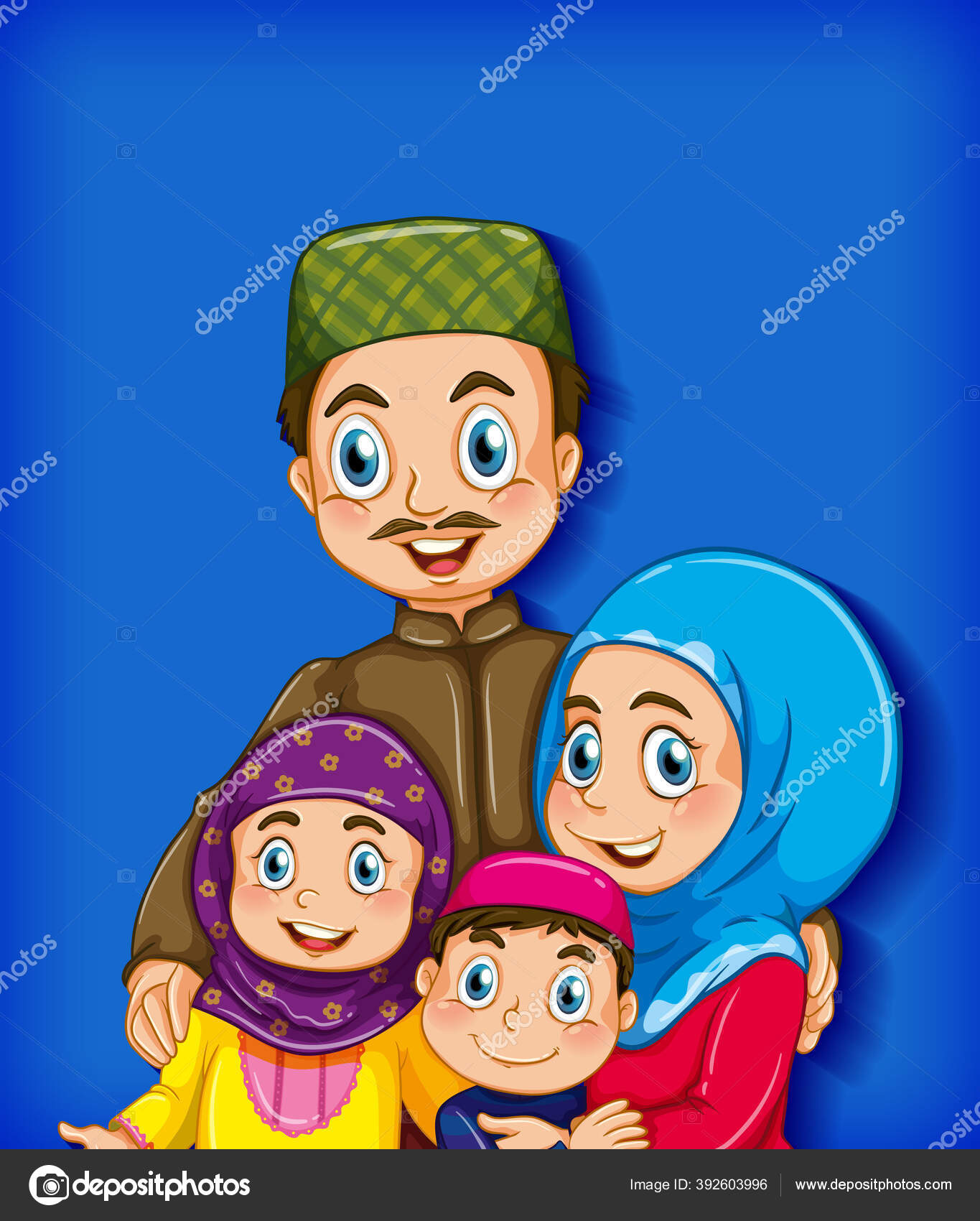 Anggota Keluarga Muslim Pada Kartun Karakter Warna Gradien Latar Belakang Stok Vektor C Interactimages 392603996