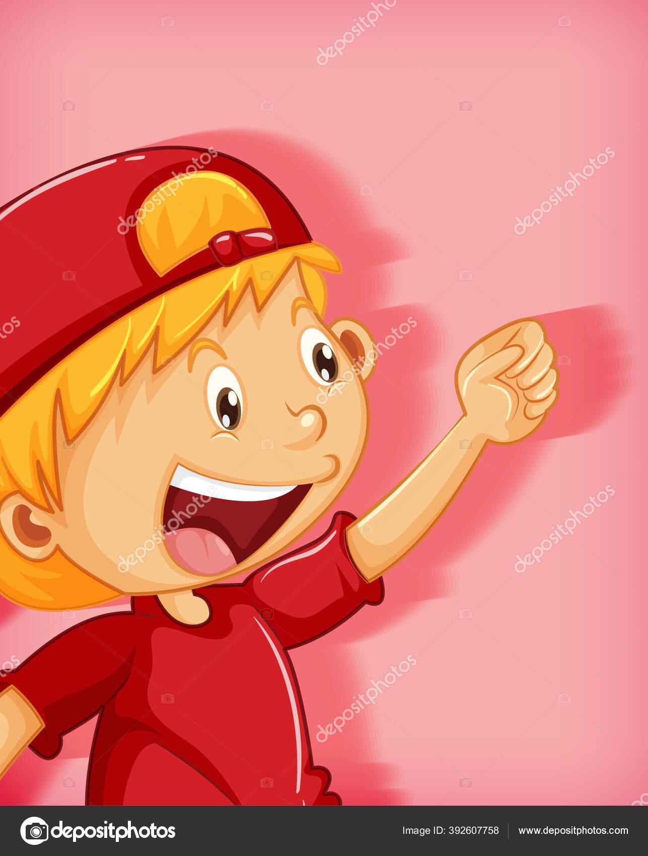Anak Laki Laki Lucu Mengenakan Topi Merah Dengan Karakter Kartun Stok Vektor C Interactimages 392607758