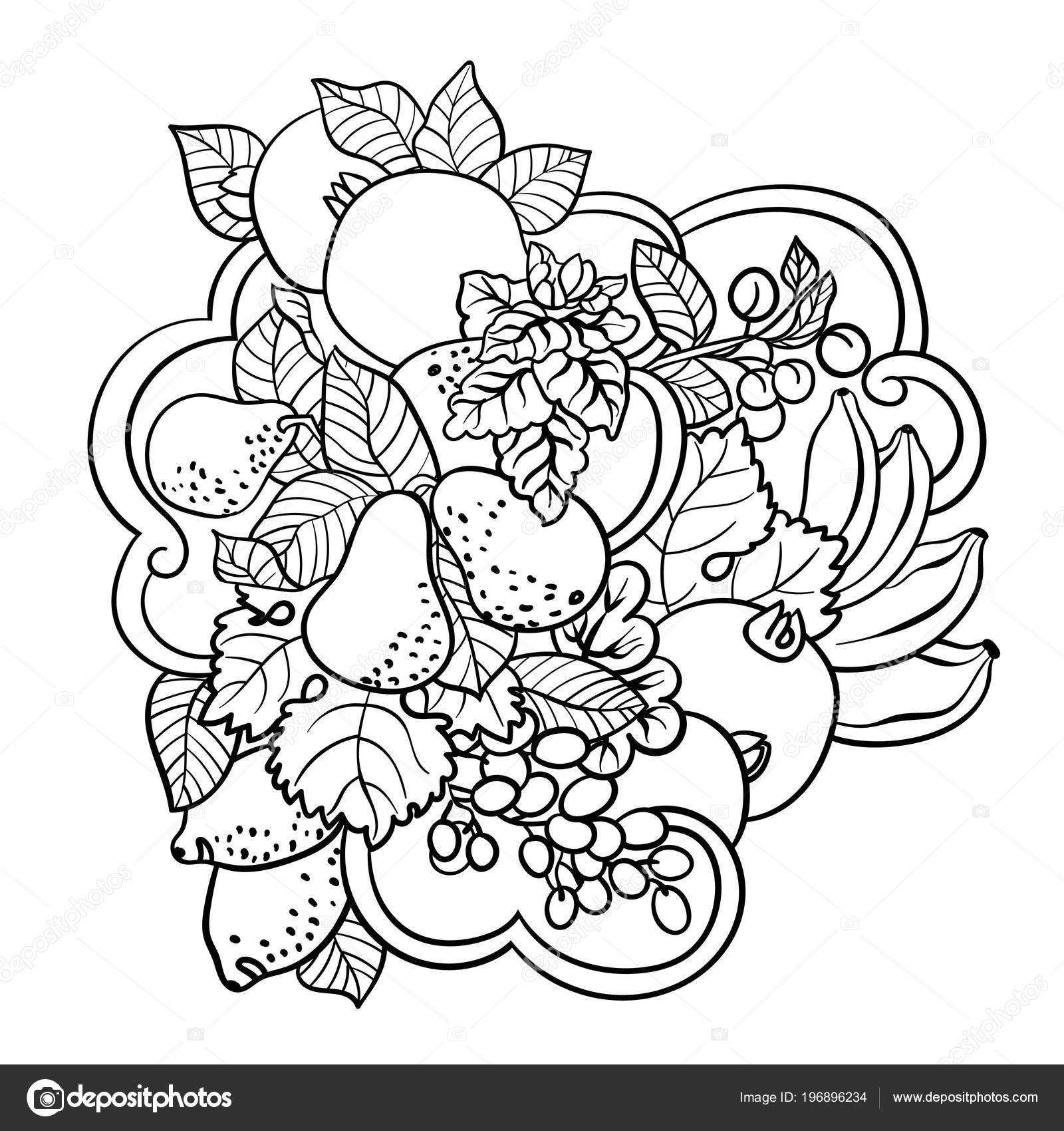 Coloring Pages Fruits Abstract Waves Children Adult People Made ...