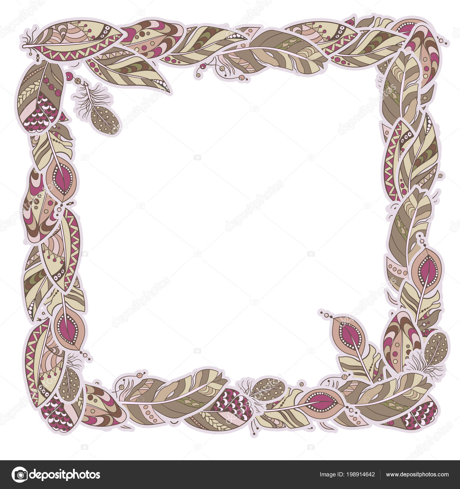 c96fe9acff Square decor element in a shape of a frame in vector graphic with feathers  in tribal ornamental style in pink and brown pastel colors — Vector by ...