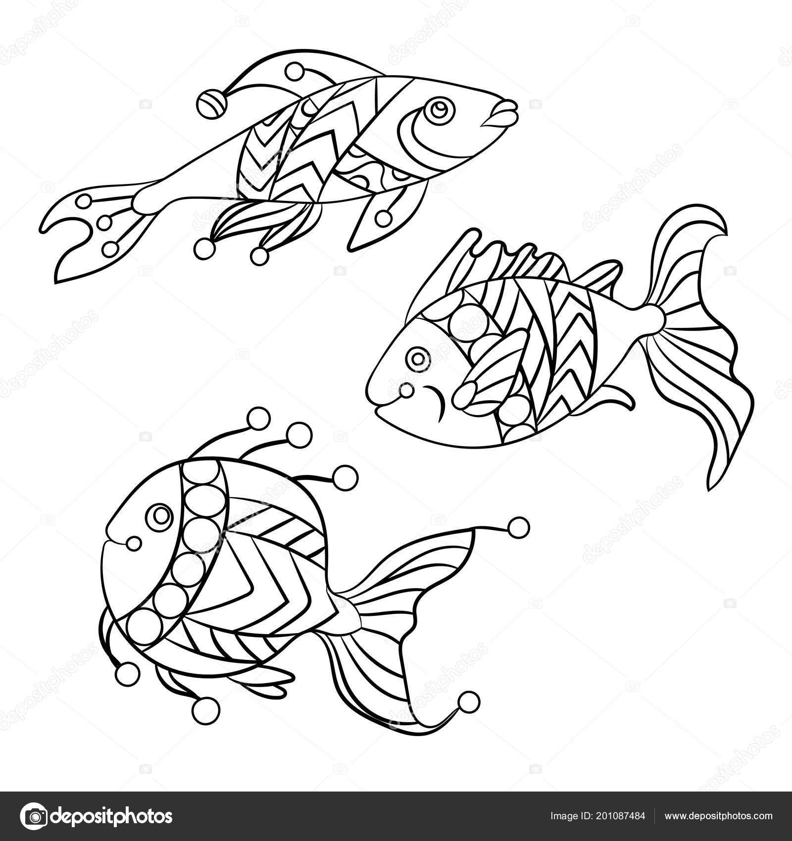 Páginas Para Colorear Para Niños Adultos Con Conjunto Peces Mar
