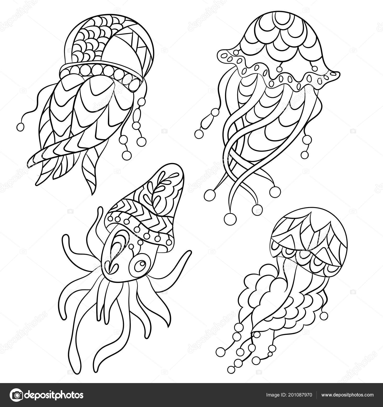 Coloring Pages Vector Graphic Illustration Children Adults Ocean