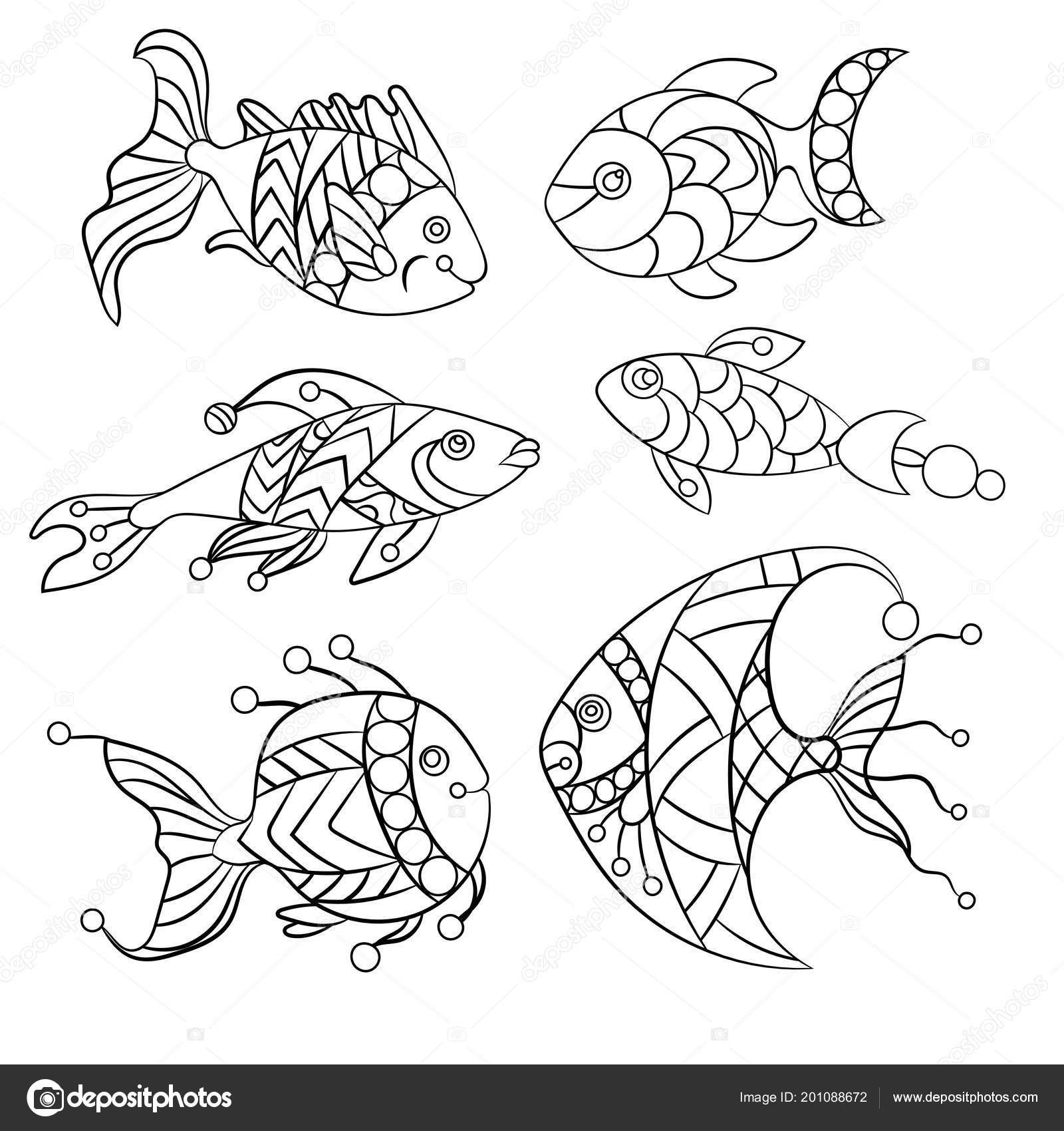 Páginas Para Colorear Para Niños Adultos Con Conjunto Peces Mar ...