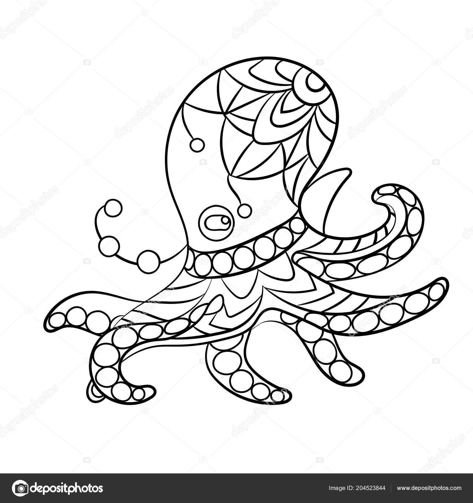 Coloring Page Vector Octopus Animal Ornaments Beads — Stock Vector ...
