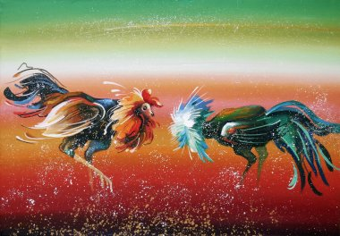 Fight of young roosters. Author: Nikolay Sivenkov.