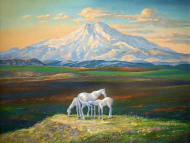 Horses against the backdrop of Mount Elbrus. Author: Nikolay Sivenkov.  I like to depict nature during a bright sunset. This is a gold watch for creative work. During sunset picturesque paintings turn out the most interesting in color and tone!