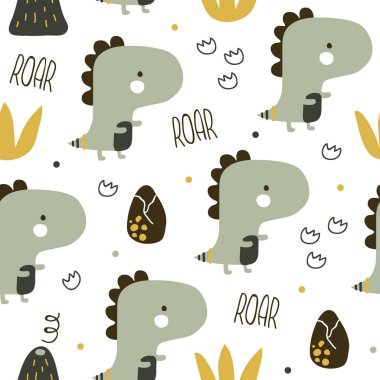 vector seamless background patterns in Scandinavian style,cartoon cute dinosaur characters  and elements for fabric design, wrapping paper, notebooks covers