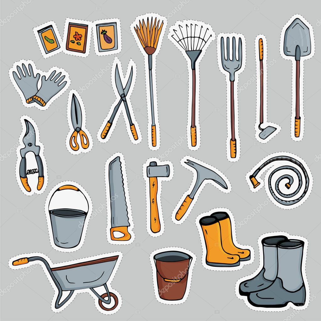 A set of stickers pictures of garden tools. Vector