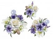 Kytice květin. Květiny sada akvarel růže, Petúnie a Čemeřice
