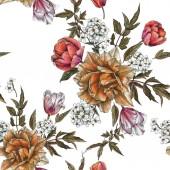Varrat nélküli virágmintás akvarell tulipán és a jázmin virág