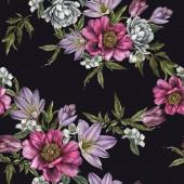 Fényképek Varrat nélküli virágmintás, akvarell pünkösdi rózsa, rózsák, tulipánok és jázmin virágok