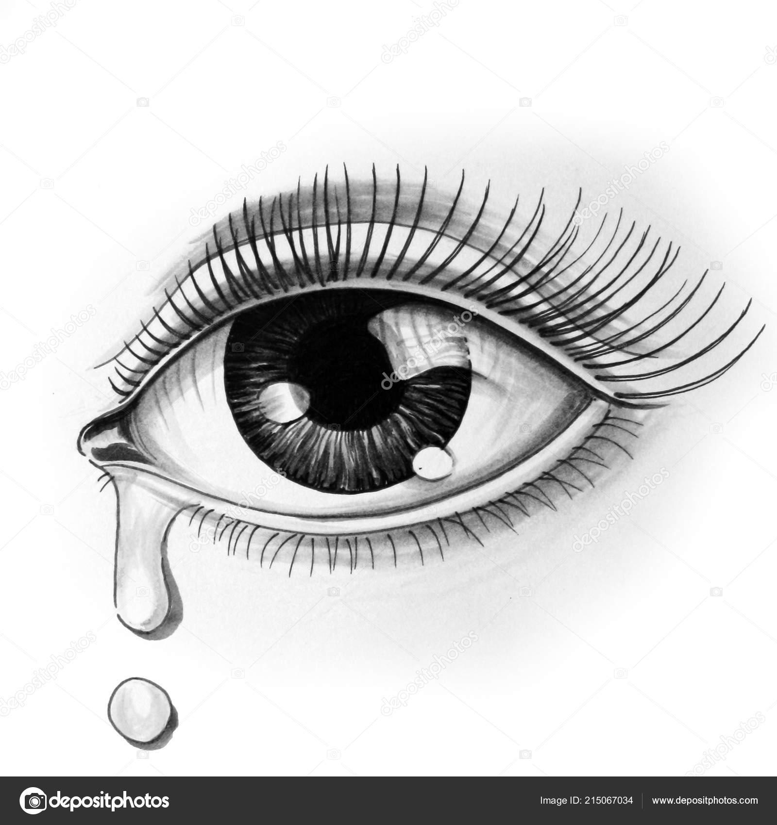 Ojos Hermosos Con Una Lágrima Ilustración Tinta Blanco Negro Foto