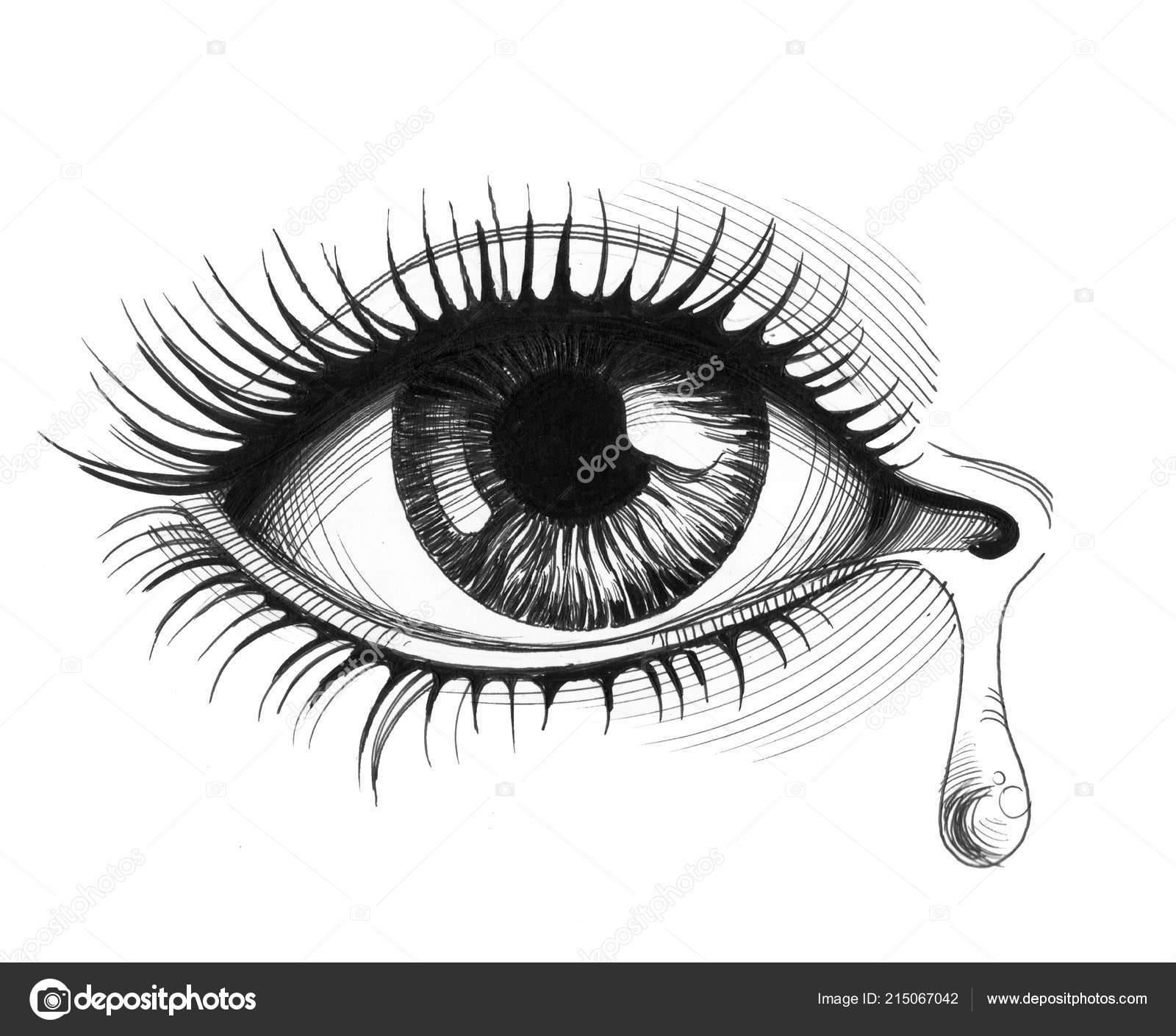 Hermoso Ojo Con Una Lágrima Llanto Ilustración Tinta Blanco Negro