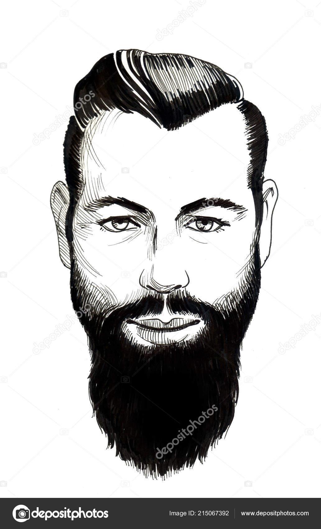 Visage Homme Barbu Sur Fond Blanc Dessin Encre Noir Blanc