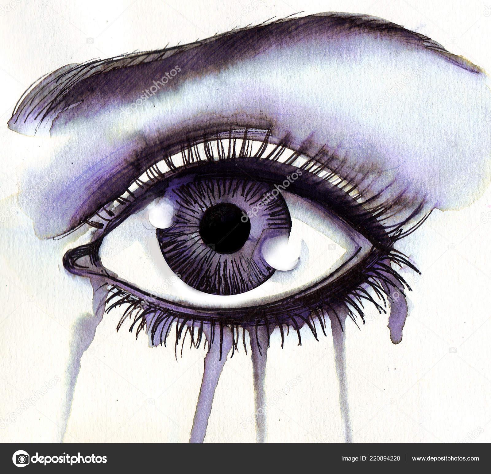 Hermoso Ojo Llorando Tinta Acuarela Dibujo Foto De Stock