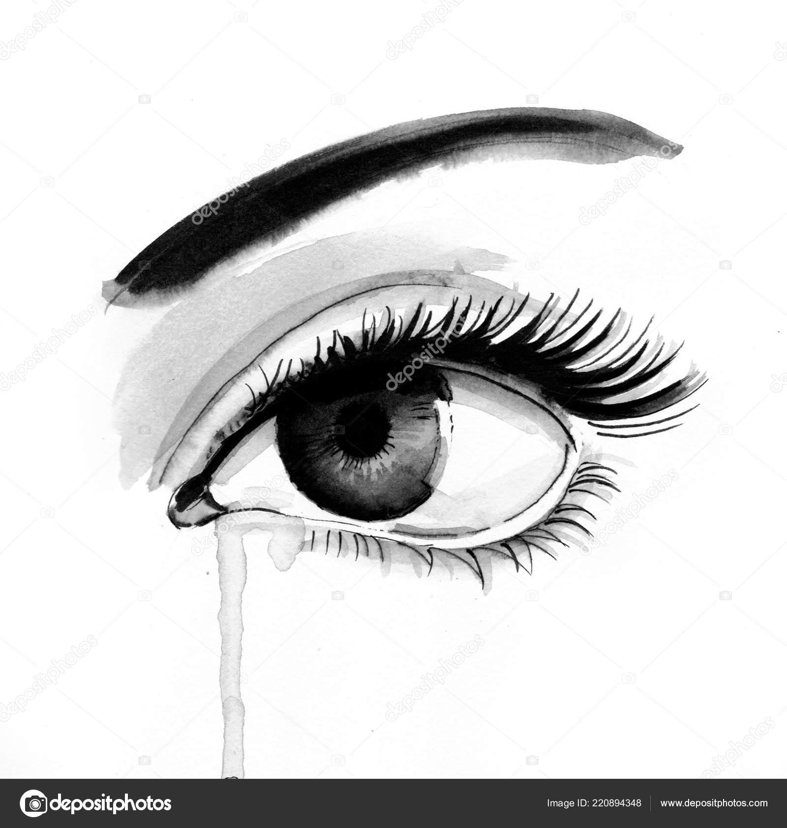 Ojos Hermosos Rasgón Ilustración Tinta Blanco Negro Foto De Stock