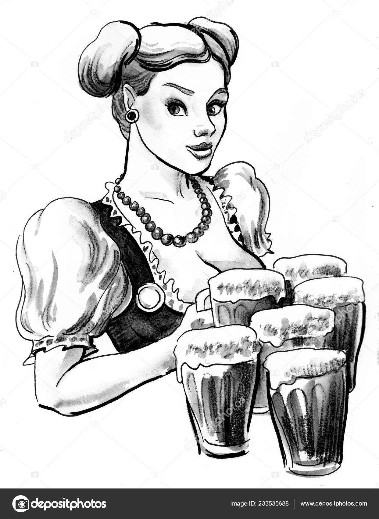 Fille Jolie Allemande Avec Chopes Bière Dessin Encre Noir