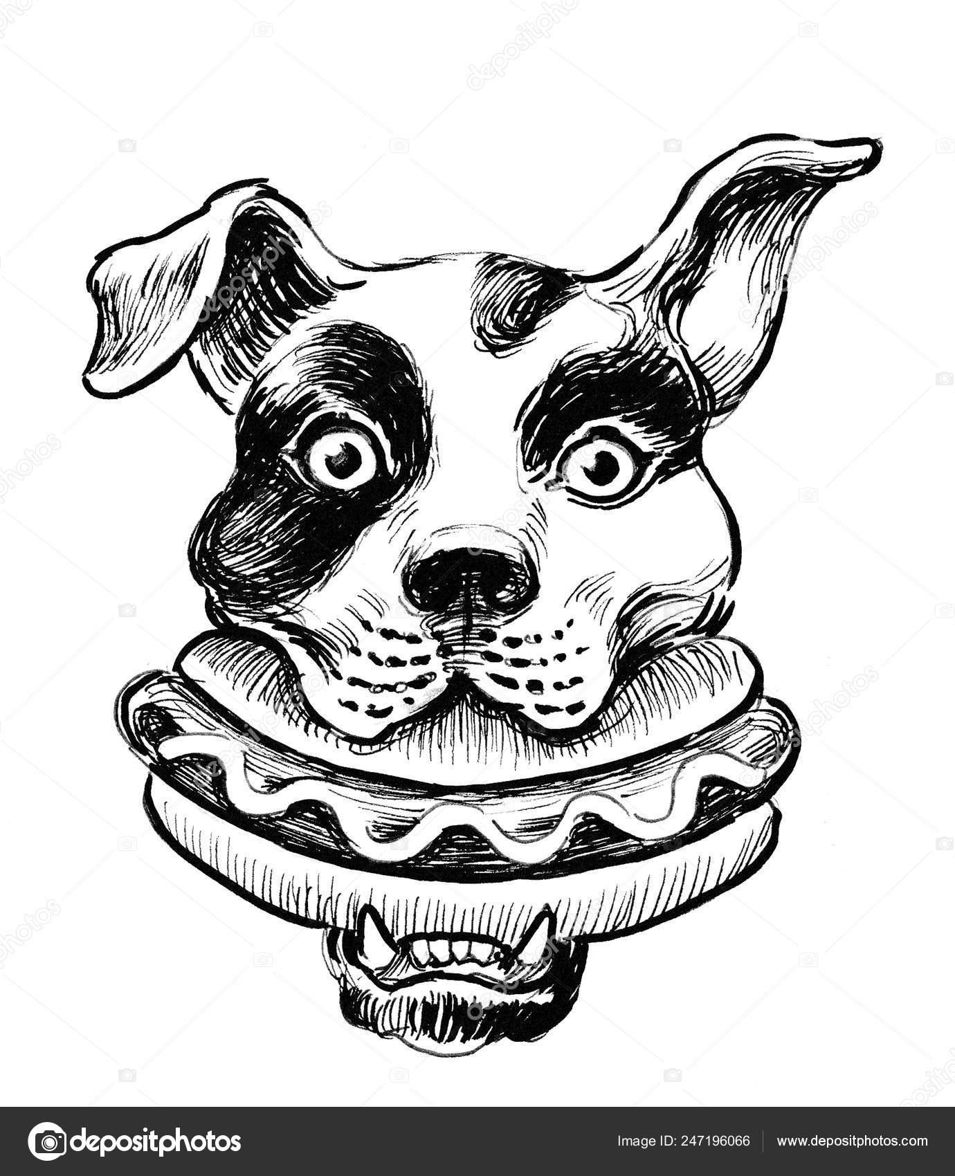 Dog Eating Hot Dog Ink Black White Drawing Stock Photo C Alexblacksea 247196066