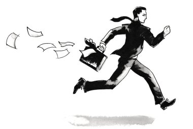 Running businessman loosing paper documents. Ink black and white drawing