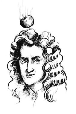 Sir Isaac Newton and falling apple. Ink black and white drawing