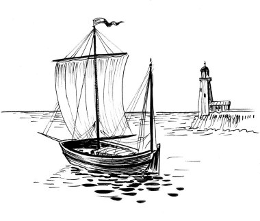 Sailing boat and lighthouse. Ink black and whit edrawing