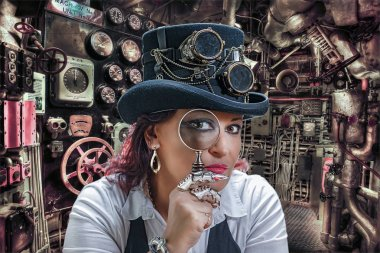 A woman in a steampunk clothes looks into a magnifier