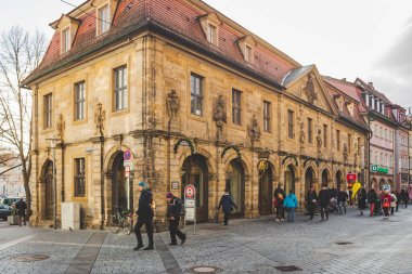 Bamberg/Germany-2/1/19: The Bakery Fuchs in the old building on Hauptwachstrasse in the center of Bamberg, a town in Upper Franconia, on the river Regnitz close to its confluence with the river Main stock vector