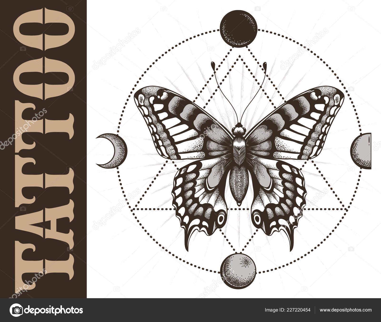 Banniere Ecole Tatouage Papillon Geometrie Triangle Phases Lune