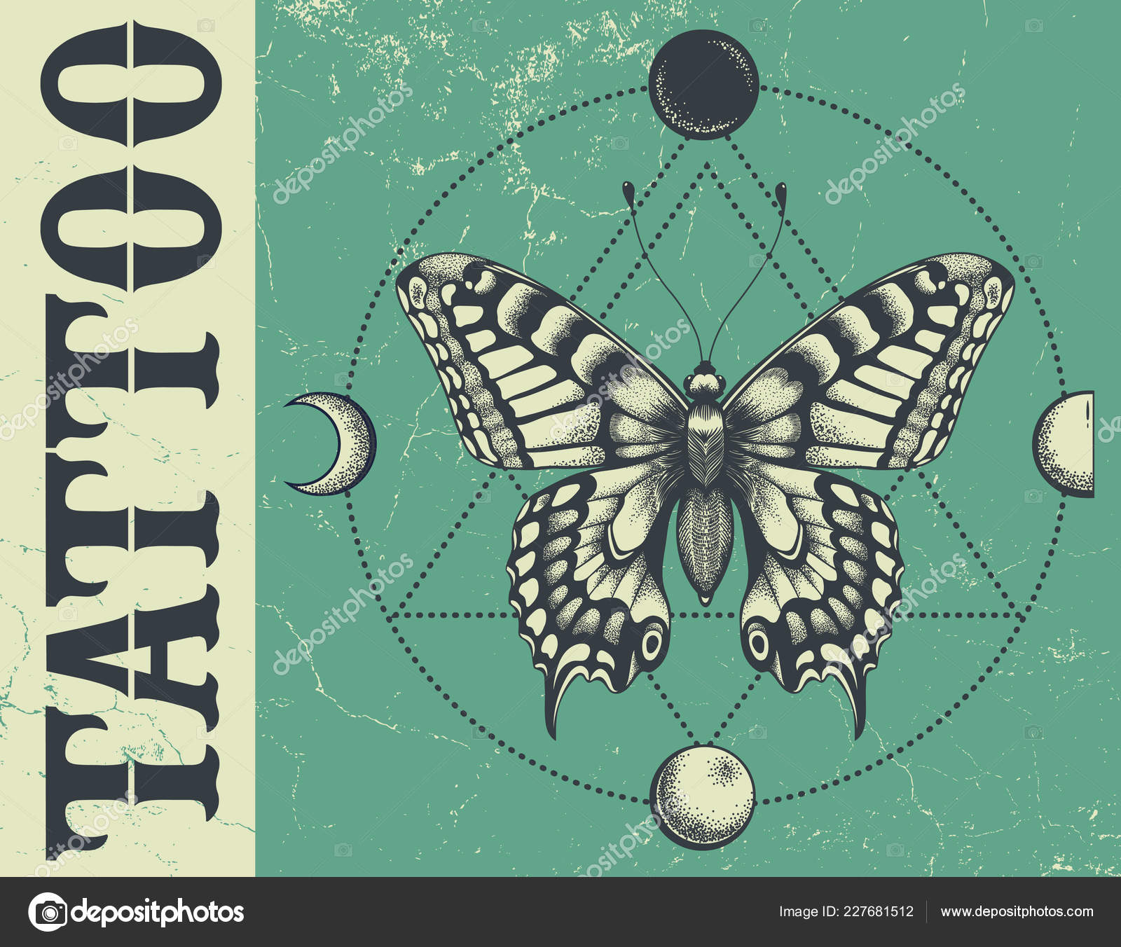 aa6176273 Banner for tattoo school, studo, parlor. Illustation with butterfly,  triangle geometry, moon phases. Grunge vector banner — Vector by natalypaint