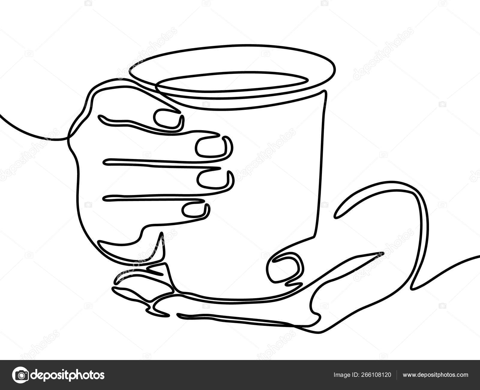Hand Holding Mug Tea Coffee One Line Drawing Vector Image By C Askhatgilyakhov Vector Stock 266108120