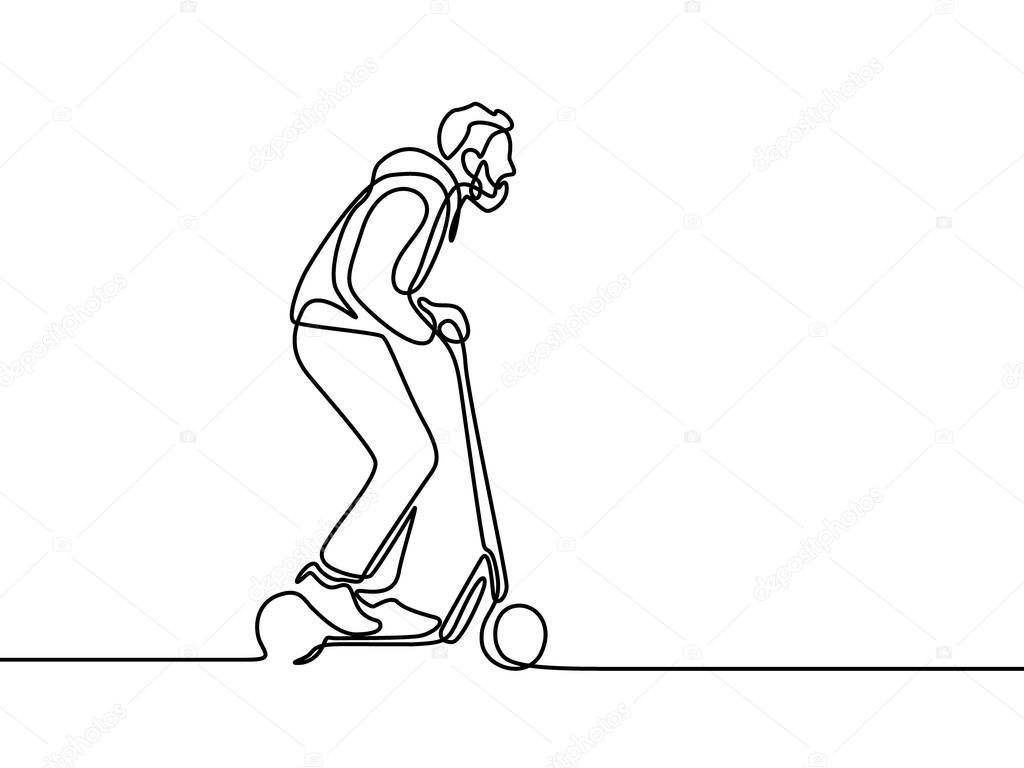 Continuous Line Man Rides An Electric Scooter Vector Illustration Premium Vector In Adobe Illustrator Ai Ai Format Encapsulated Postscript Eps Eps Format