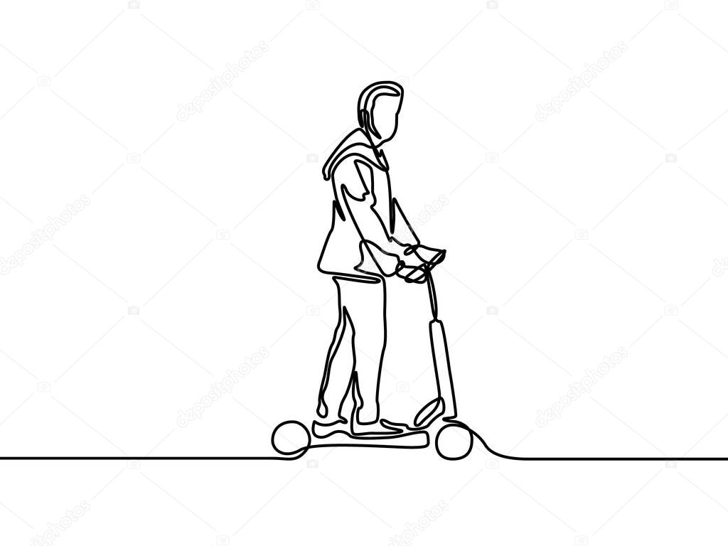 One Line Man Rides An Electric Scooter Vector Illustration Premium Vector In Adobe Illustrator Ai Ai Format Encapsulated Postscript Eps Eps Format