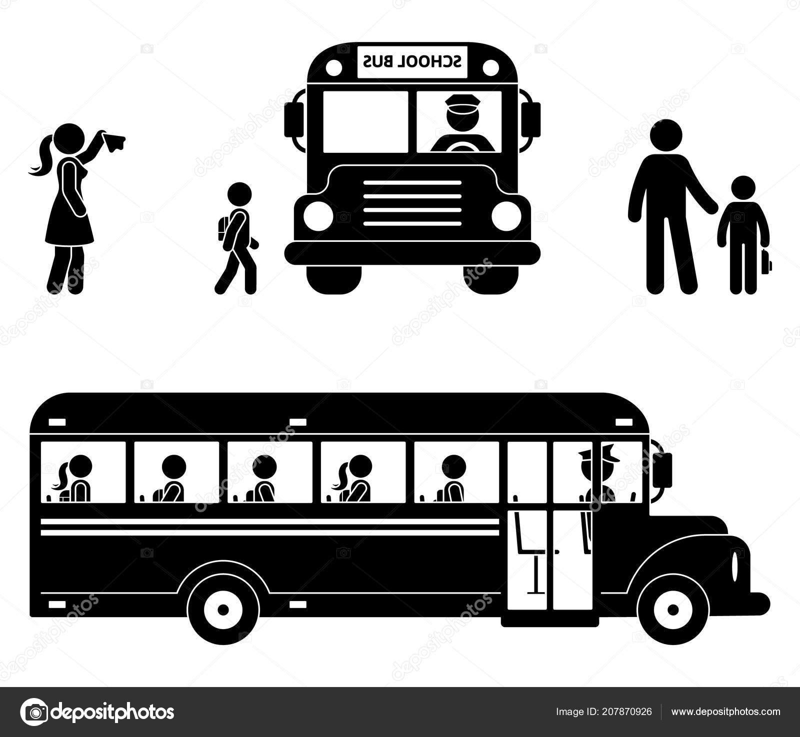 Scuola Bambini Seduti Autobus Figura Stilizzata Icona Scuola